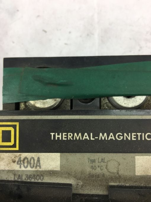 USED Square D LAL36400 Circuit Breaker THERMO MAGNETIC 3 Pole 400A 600VAC B329 2