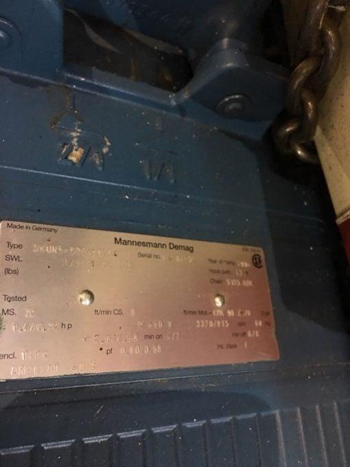 MANNESMANN DEMAG DEMATIC AG DKUN 5-500 KV1 F4 CHAIN HOIST 1 TON, 5X15 CHAIN NP10 3