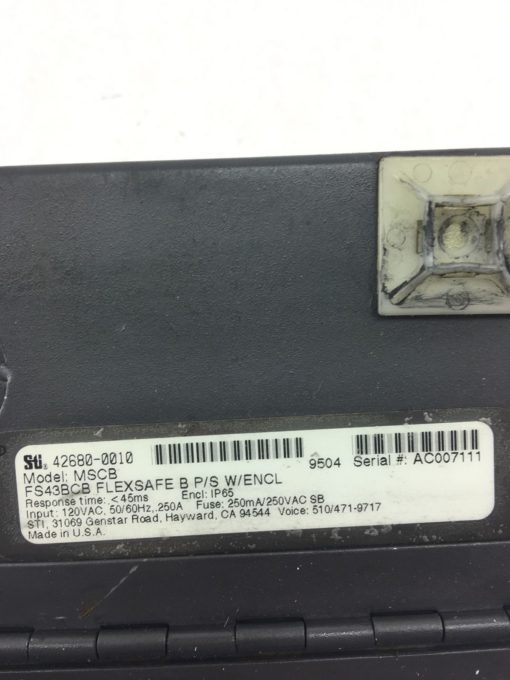 STI 42680-0010 MODEL MSCB FS43BCB FLEXSAFE B P/SÂ LIGHT CURTAIN CONTROLLER, B363 2