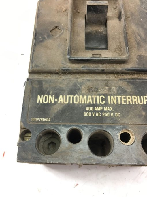 USED CUTLER-HAMMER 400A 600VAC 250VDC NON AUTOMATIC INTERRUPTER 100P791H04A B312 2